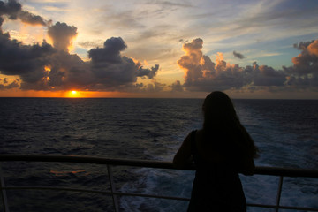 Cruise, Sunset, woman, Caribbean Sea