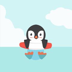 Cute Penguin swimming inflatable ring  cartoon