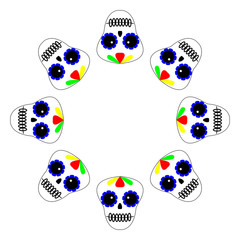 Vector illustration. Day of the dead poster, banner, card. Dia de los muertos icon on white background. Round Set of colourful sculls.
