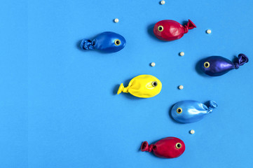 Funny fishes made from balloons
