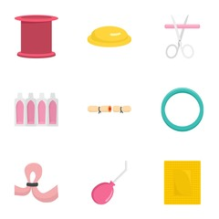 Type of contraception icon set. Flat set of 9 type of contraception vector icons for web design