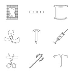 Type contraception icon set. Outline set of 9 type contraception vector icons for web design isolated on white background