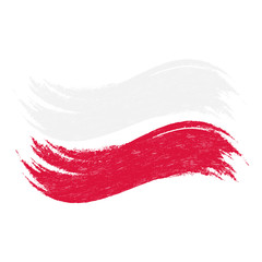 Grunge Brush Stroke With National Flag Of Poland Isolated On A White Background. Vector Illustration. Flag In Grungy Style. Use For Brochures, Printed Materials, Logos, Independence Day