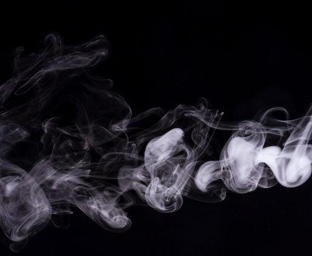 cigarette smoke isolated vapor realistic mist on black background