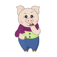Cute pig in a scarf