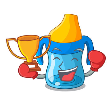 Boxing winner baby training cup isolated on mascot