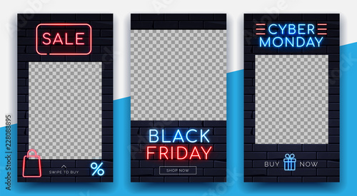 Illuminated neon signs Black friday Cyber monday sale frame