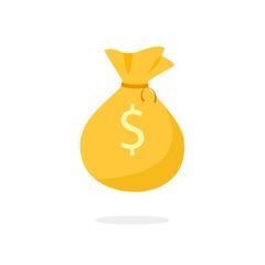 Golden Money Bag icon. Clipart image isolated on white background