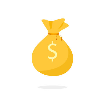 Golden Money Bag icon. Clipart image isolated on white background