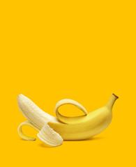 Fototapeta Peeled banana isolated on white background obraz