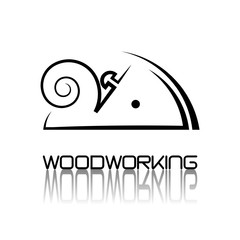 "an illustration consisting of an image of a planer plowing a tree and the inscription ""woodworking"""