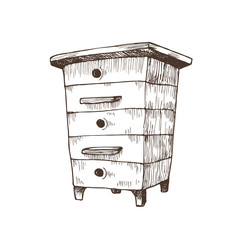 Hand drawn national beehive in sketch style. Vector Illustration. Wooden box hive isolated on white background.