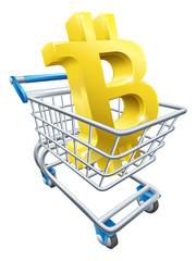 Buying Bitcoin supermarket shopping cart concept