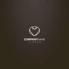 white logo on a black background. simple vector line art outline logo of owl shape