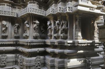 Carved figures on walls, Bhuleshwar Temple, Yavat, Maharashtra.