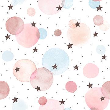 Watercolor texture in pastel colors. Hand drawn seamless abstract background for print on fabric or wrapping paper. Watercolor spots with black stars and dots isolated on white background.