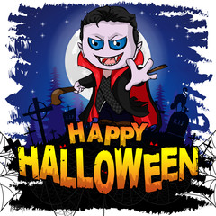 Happy Halloween  Design template with Graf Dracula. Vector illustration.