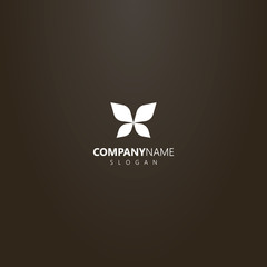 white logo on a black background. simple vector outline logo of abstract butterfly wings