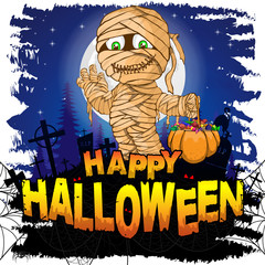 Happy Halloween Design template with mummy. Vector illustration.
