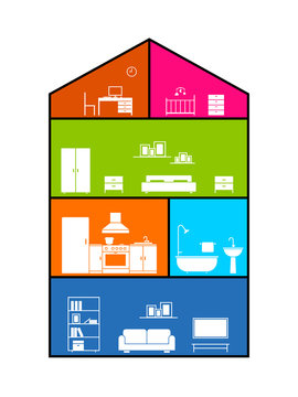 Cross section of house. Clipart image isolated on white background