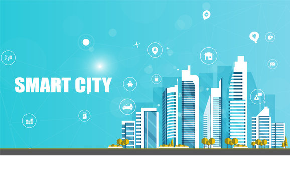 Urban landscape with infographic elements. Smart city. Modern city. Concept website template. Vector illustration.