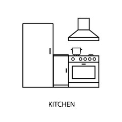 Kitchen room outline icon. Clipart image isolated on white background