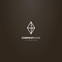 white logo on a black background. simple vector geometric logo of a transparent diamond stone
