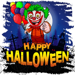 Happy Halloween Design template with clown. Vector illustration.