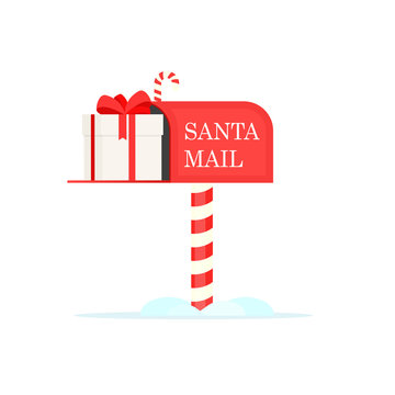 Santa mailbox with gift box icon. Clipart image isolated on white background