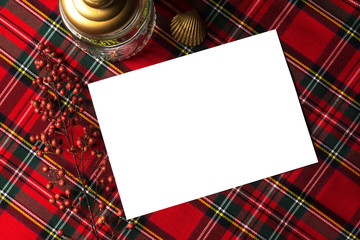 Festive Gold Program/Menu Mockup, on red checkered background