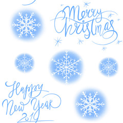 Merry christmas pattern with snowflakes illustration