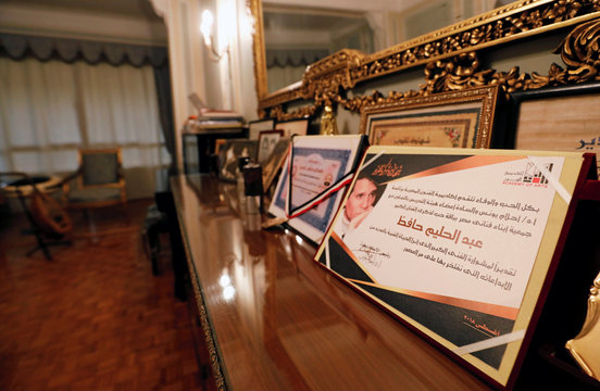 """The certificates and awards from the musical career of Egyptian singer Abdel Halim Hafez are displayed in his bedroom, as part of the """"Lived Here"""" project launched by Ministry of Culture in Cairo"""