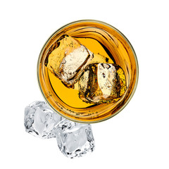 Whiskey or whisky in rocks glass from top view isolated on white background including