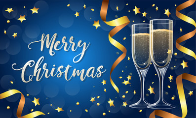Merry Christmas greeting card template with two realistic champagne glasses, blue background with gold festive ribbons and confetti. Vector illustration