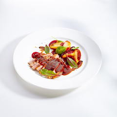 Duck Breast with Baked Apple and Peach Cream