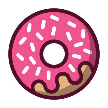Simple, flat, pink donut icon. Outline design. White sprinkles. Isolated on white