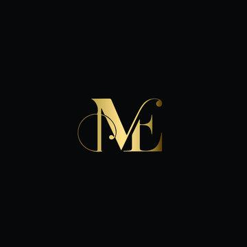 Creative Solid Minimal Letter ME Logo Design In vector Format