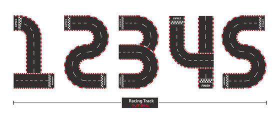 Numbers racing track style in a set 12345