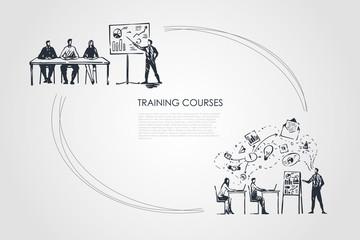 Training courses - students listening to presentation and sitting in classrom vector concept set
