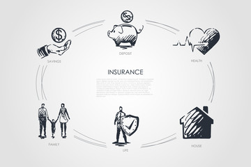 Insurance - savings, family, life, house, health, deposit vector concept set
