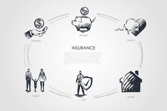 Insurance - savings, family, life, house, health, deposit vector concept set