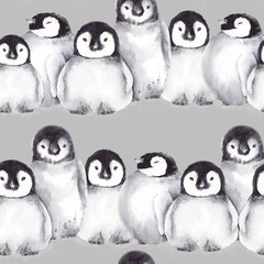 Seamless pattern with cute baby penguins. Watercolor illustration on gray background.