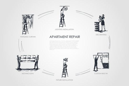 Apartment repair - hanging curtain, moving sofa, fixture installation, custom built-in, decorating, lighting installation vector concept set