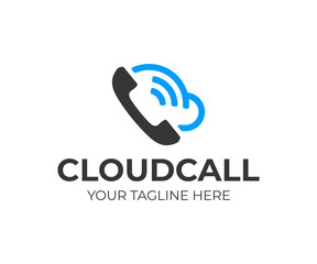 Cloud phone system logo design. Mobile cloud computing vector design. Handset and cloud logotype