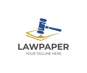 Legal documents logo design. Law papers and law gavel vector design. Attorney logotype