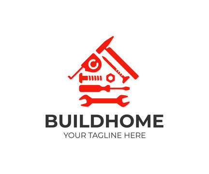 Home repair logo design. House building tools vector design. House construction logotype