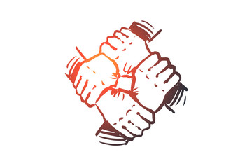 Team spirit, together, connection, partnership concept. Hand drawn isolated vector.