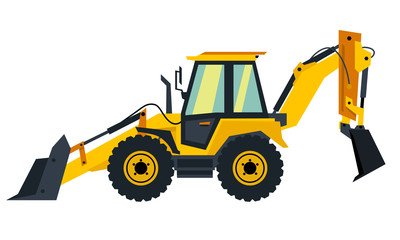Vector yellow backhoe loader