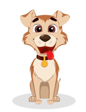 Cute funny dog. Puppy cartoon character