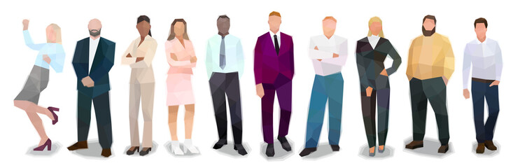 Group of people business suits, stand in a row, vector